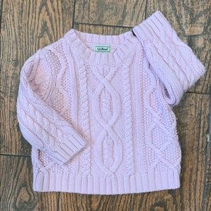LL Bean Light Pink Cable Knit Sweater